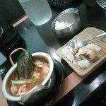 silky tofu soup with mussel and prawns.