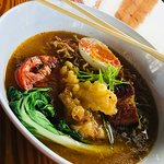 Spicy ramen bowl with tempura lobster