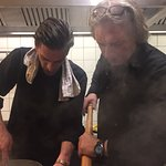 Chef's Mate and Son Vincent in the kitchen at Restaurant Zagreb