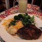 Slushy Margarita, 10 oz Steak, loaded mashed potatoes, broccoli