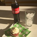July Fourth Celebration: delicious red velvet cupcake and a classic coke!