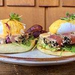 KAUAI sesame seared ahi, arugula, poached eggs & avocado mash