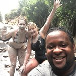 At the volcano mud baths with Lionel -- our wonderful driver (and photographer).
