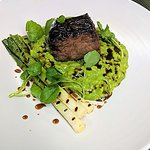 Beechwood Smoked Dry Aged Cumbrian Beef, watercress risotto, spring onions