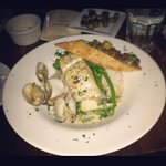 halibut with clams and homemade bruschetta