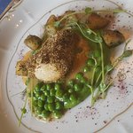 Minted chicken breast with peas and potatoes