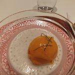 Mango sorbet on tapioca pudding