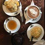 apple crumble and cream tea, cappuccino, cheese & chive scones