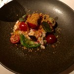 Tomato and lobster salad with herbed bread crumbs & basil