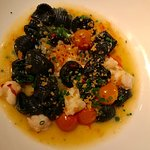 Squid ink lumache with rock shrimp and sun gold tomatoes