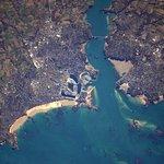 Photo de la plage du sillon de St Malo vue de l'espace par Nicolas Pesquet avec St Malo Intramur