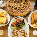 Pizza, Fish & Chips, Reuben Sandwich, Bacon Cheese Burger