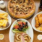 Pizza, Fish & Chips, Reuben Sandwich, Bacon Cheese Burger