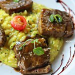 Herb Roasted & Mixed Pork Belly on a bed of Risotto ( Rs.825 )