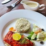 Harissa Grilled Fish with Herbed Rice + Side salad ( Rs.645 )