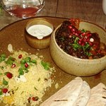 Moroccan Lamb with apricot cous cous flat bread and yoghurt
