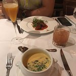 Starters - butternut squash soup and beef shortrib, with a Passion Jazz (L) and Captain White (R