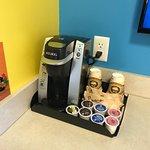 Keurig with (Peet's!!) coffee, hot chocolate & tea. Much appreciated!