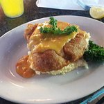 Beer-battered Mahi over grits w Queso Lunch Special