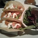 My bang bang shrimp tacos with side salad