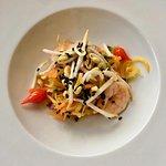 la salade de mangue verte aux queues de crevettes comme au Vietnam
