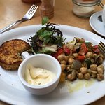 Salmon fishcake (dry as sawdust) and deli salad (the bland vomit looking stuff)