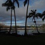 View from hotel towards snow capped Mauna Kea