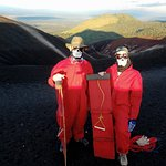 getting ready to go down Cerro Negro