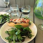 Lobster rolls, crisp salads and an empty (!) glass of wine.