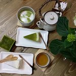 Mille Crepe and matcha latte