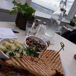 Warm Steak & Shredded Ginger Club Sanwich, served with Cranberry Wild Rice & Diced Potato Salad.