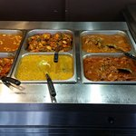 A nice looking assortment of foods, the chicken dish was the only one with a bit of spiciness th