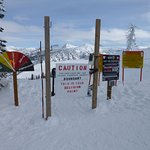 Avalanche gates on the left side of the trail.