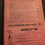Sharing the menu and decor of McGuires ~~delicious!