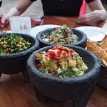 The Three Guacamoles appetizer - each portion is generous; all of them together was a LOT of gua