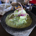 Aguachile Pacifico, served in a stone bowl.