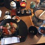 Fish rice bowl breakfast