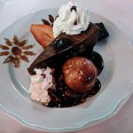 Black Velvet Praline Tort with Vanilla Ice Cream