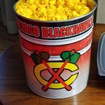 Chicago Blackhawks tin with cheese popcorn