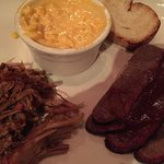 combo 2 meats: pulled pork and brisket. added on cheesy corn