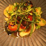 Rump of lamb with sea asparagus and hazelnut puree. Vegetarian dish, Mediterranean vegetable tim