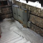 Electrical cabinets left open all week outside Traventuria Ski Hire where they lost power to the