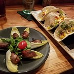Proscuito wrapped dates and fish tacos