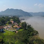 Areal view of our garden and prime location in front of the Mekong river