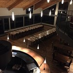 looking down at table set up for wine pairing dinner