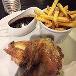Half roast chicken. Lemon, garlic & thyme marinade, fries, Bordelaise sauce.