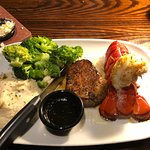 Flo's Filet and Lobster Tail with Mashed Potatoes and Broccoli