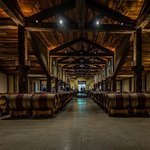 The barrel room looking back towards the tasting area and restaurant.