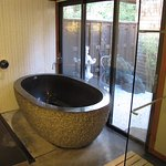 Soaking tub that look out on the atrium.