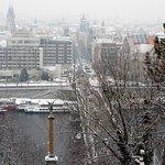 Snow covered Prague from Letna Park